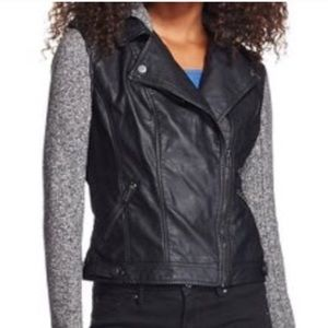 Black faux leather and grey sweater hood jacket